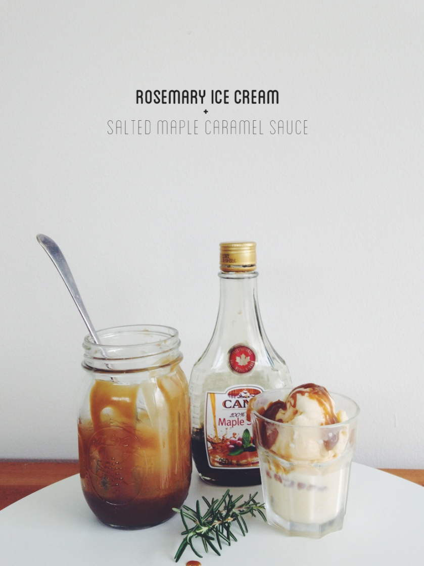 rosemary ice cream with salted maple caramel sauce | south by north