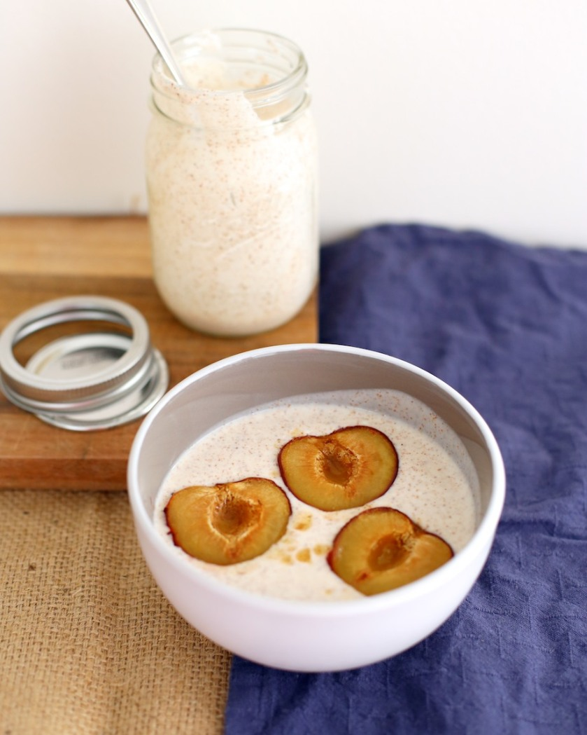 spiced yoghurt with maple roasted plums | south by north