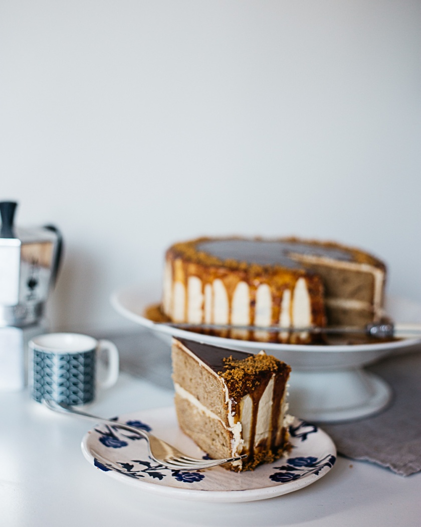 speculoos cake with salted caramel frosting and espresso ganache | south by north